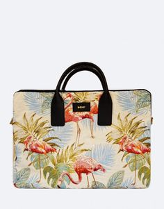 Funda-maletín-portátil-flamencos- Tablets, Unisex, Kate Spade, Tropical, Bags, Fashion, Laptop Sleeves, Flamingos, Black