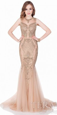Terani Couture Beaded Metallic Fishnet Evening Gown