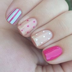 Cute pink nails with nude accents and dots by #arle_nails