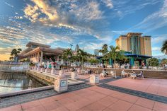 Sunset time at Sail Pavilion and the Tampa Riverwalk   Matthew ...