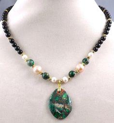 Green Emperor Jasper gemstone pendant,black Onyx beads,Pearls handmade necklace