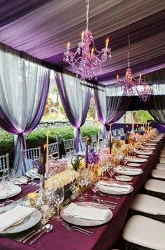 Color Inspiration: Purple Wedding Ideas for a Regal Event - wedding reception idea; via Colin Cowie Weddings Mod Wedding, Purple Wedding, Wedding Table, Wedding Events, Wedding Reception, Dream Wedding, Private Wedding, Wedding Beach, Reception Table