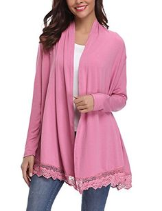 c686c05a918 Womens Long Sleeve Lace Spliced Open Front Cardigan Sweater Open Front  Cardigan