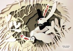 """The paper-cuts were made after L.Carroll """"Alice in Wonderland""""work size - 25x25 cm"""