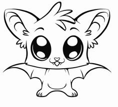 Cute cartoon baby animals with big eyes
