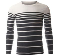 Mens Crewneck Long Sleeve Gradual Stripe T-Shirt (TRL3005) #FLATSEVEN FLATSEVENSHOP.COM