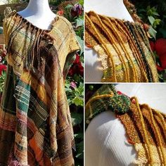 Fall colors tunic finished. #handenstudios #ilovesaoriweaving #finishedwork Tablet Weaving, Hand Weaving, Textile Patterns, Clothing Patterns, Weaving Textiles, Weaving Projects, Crochet Clothes, Fiber Art, Plaid Scarf