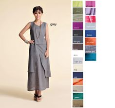 """""""Asian- style Linen Long Dress with its Skirt in Two Layers and two asymmetrical layers fits many body types. Pair the dress with a short sweater/ jacket for evening wear. Colors: To select your color please go to the last picture on each item. In the pictures the model is wearing grey. You can just buy it through the listing, and send me a notice, including your measurements and your color choice. Material: linen size: We Only Accept Custom Size Measurements needed are: Chest width Waist Hips S Sweater And Shorts, Sweater Jacket, Style Asiatique, Shabby Chic Wardrobe, Pull Court, Fabric Cards, Buy Clothes Online, Diy Clothing, Asian Style"""