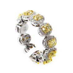 White & Yellow Gold Diamond Band Ring