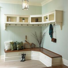 Furniture, Wooden Corner Mudroom Design With Bench Seat Drawer Shoe Storage Clothing Hooks And Cabinet Without Door Ideas: 60 Appealing Mudroom and Hallway Storage Ideas to Apply