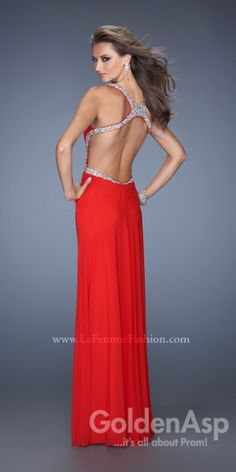 Simple Cutout Prom Dress La Femme 19729, from Golden Asp's selection of open back #prom dresses. Visit our #dress shop in Bensalem, Pennsylvania, or shop for open back dresses online at http://www.goldenaspprom.com/shop/dresses/style/open-back-prom-dresses #prom2015 #prom2k15