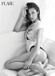 Bella Hadid with Calvin Klein for Urban Outfitters top and Seductive Comfort Calvin Klein Underwear