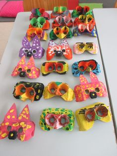 Faschingsdeko Basteln - Always a child: Carnaval Effektive Bild. Kids Crafts, Toddler Crafts, Easter Crafts, Egg Carton Art, Egg Carton Crafts, Egg Cartons, Kindergarten Art, Preschool Art, Art Lessons Elementary