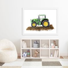 Green Tractor Painting as part of boy nursery how to draw farm animals, farm animal nursery theme, wwf animals Farm Animal Nursery, Baby Farm Animals, Farm Nursery, Animal Room, Nursery Ideas, Nursery Twins, Nursery Art, Room Ideas, Boys Tractor Bedroom