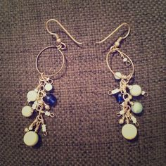 Blue and white beaded statement earrings Handmade silver and blue beaded statement earrings. Dangly earrings with blue and white beads Jewelry Earrings