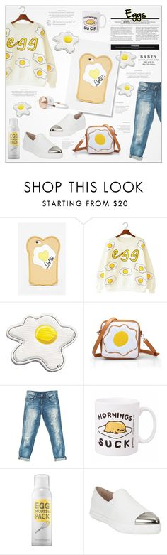 """♠ Breakfast!"" by paty ❤ liked on Polyvore featuring Lolli Swim, Anya Hindmarch, Sans Souci, too cool for school, Miu Miu, Frends, food, egg and gudetama"