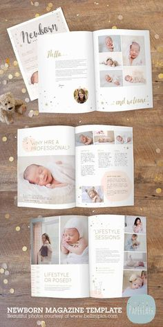 22 Page Newborn Photography Magazine Template PG016 from Paper Lark Designs