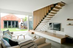Feature | Steel String | Concealed String | Slat Balustrade | Stair | Architecture | Tasmanian Oak | Landing Steps | Open | Design