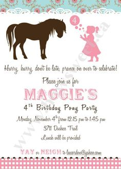 Vintage Pony Party Digital Invitation - Front and back design | Sweetparties - Children's on ArtFire