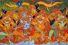 Radha Krishna with Gopinis Enjoy Music - Reprints of Temple Murals (Reprint on Paper - Unframed) Kerala Mural Painting, Madhubani Painting, Kalamkari Painting, Ganesha Painting, Buddha Painting, Mural Wall Art, Murals, Garden Mural, Indian Folk Art