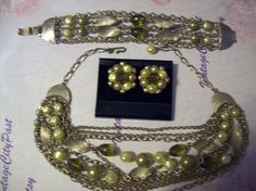 Vintage Necklace Bracelet Earrings Set, Olive Necklace, Olive Bracelet, Olive Earrings, Vintage Clip Earrings by vintagecitypast on Etsy