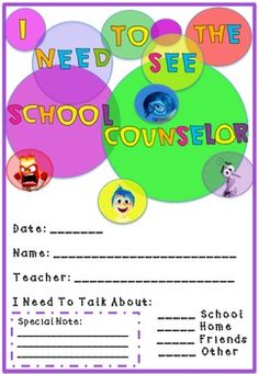 Inside Out School Counselor Referral and Passes Pack