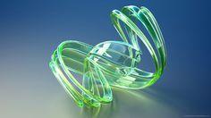 Green glass ribbon render for 1920x1080