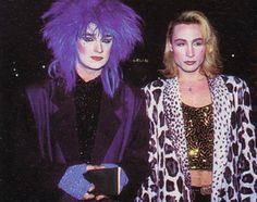 Purple hair on Boy George - King of the London New Romantics  - with Marilyn (in early 1980's)