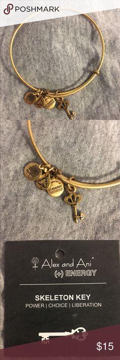 Alex and ani skeleton key charm bangle Worn a few time. Card included Alex & Ani Jewelry Bracelets