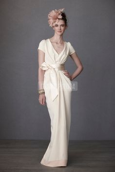 Satin Sheath Split Charming Sash Long V-neck Wedding Dress