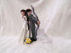 Archery Bows Hand Sculpted Custom Wedding Cake Topper