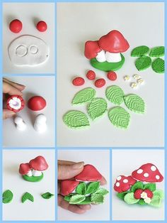 A kingdom where adorable cake topper tutorials and decorations could be implement with polymer clay fondant gum paste modeling chocolate marzipan a kingdom, where adorable cake topper tutorials and dec Polymer clay Strawberry and Mushrooms Tutorial ^ Lear Cake Topper Tutorial, Fondant Tutorial, Fondant Cake Toppers, Fondant Cakes, Fondant Bow, Cupcake Cakes, Decoration Patisserie, Fondant Animals, Clay Fairies