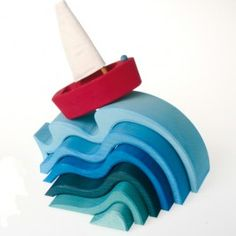 Water Waves Wooden Nesting Blocks made in Germany. Such soothing blues!