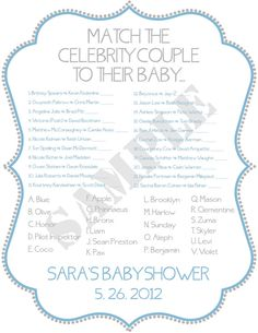 Celebrity Baby Shower Game JPEG File Blue & Gray by PoshPapetiere