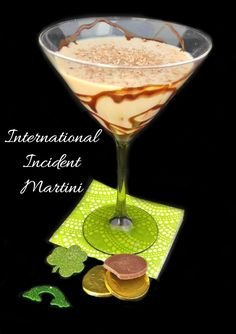 This International Incident Martini combines spirits of several countries. It's a powerful cocktail that is perfect for St. Cocktail Desserts, Cocktail Recipes, Cocktails, Martinis, Drink Recipes, Fun Drinks, Yummy Drinks, Alcoholic Drinks, Refreshing Drinks