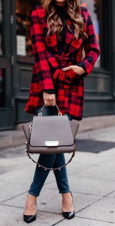 #winter #outfits black and red plaid trench coat