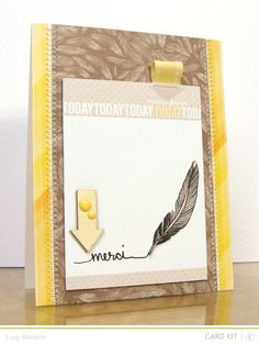quill pen Merci by LucyAbrams at Studio Calico Feather Cards, Studio Calico, Card Kit, Creative Cards, Cute Cards, Greeting Cards Handmade, Scrapbook Cards, Homemade Cards, Stampin Up Cards