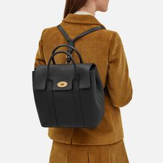 Bayswater Backpack | Black Small Classic Grain | Women | Mulberry