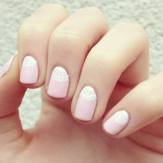 Cute valentine's day lace manicure