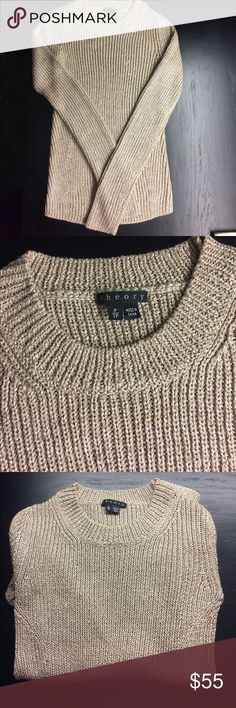 Gold THEORY sweater Metallic gold sweater with sparkle detail. Size is P/TP. Very comfortable, perfect for dressing up with jeans or slacks!! Theory Sweaters