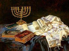 What a beautiful painting! painting jewish judaism beautiful menorah ღ✟ Cultura Judaica, Arte Judaica, Bible Pictures, Jesus Pictures, Shavua Tov, Messianic Judaism, Prophetic Art, Lion Of Judah, World Religions