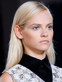 The side part adds drama to sleek strands - Derek Lam S/S 2013