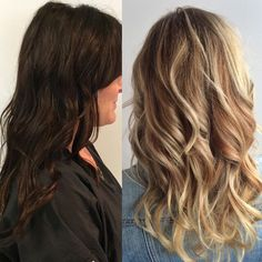Dark to light hair. Before and after blonde hair. Balayage blonde. Blonde with highlights. Blonde with lowlights