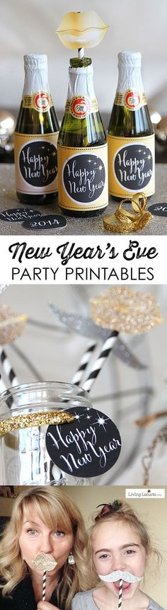 Gold and Black New Year's Eve Party Printables. Cute photo props, bottle labels, banner and signs!