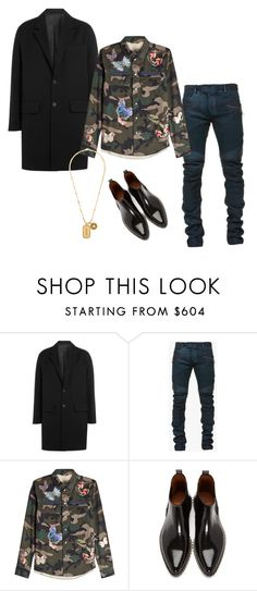 """ATTENTION!"" by jae-styles ❤ liked on Polyvore featuring AMI, Balmain, Valentino, Givenchy, Versace, men's fashion, menswear and versace"