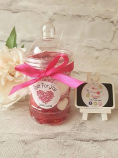 Sweet Jars, Retro Sweets Chocolate Jar, Birthdays, Hen Parties, Party Favours, Baby Shower, Red Pink White Sweet Jar