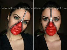 Halloween Make-up - Unzipped face  http://deea-makeup.blogspot.ro/2011/10/halloween-make-up-unzipped-face.html