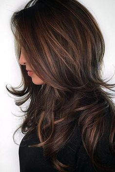 hair color fall, this style creates soft and silky dimension to those with brunette hair. Keep your natural base and add a medium brown balayage color. This color works great on those with medium layered cuts and naturally wavy hair.