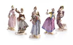 """Selkirk Auctioneers  FIVE NYMPHENBURG COMMEDIA DELL'ARTE FIGURINES BY FRANZ ANTON BUSTELLI.  German, 20th century, porcelain. All figures from the same line, five total: Mezzetino, Lucinda, Lalage, Leda, and Columbine. 9""""h.  Estimate $ 2,000-3,000"""