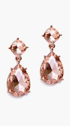 Heirloom Finds Faceted Peach Crystal Teardrop Dangle Earrings in Rose Gold Tone - Jewelry For Her Jewelry Box, Jewelery, Jewelry Accessories, Wedding Accessories, Royal Jewelry, Rose Gold Earrings, Statement Earrings, Teardrop Earrings, Dangle Earrings
